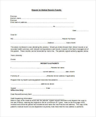 medical records request form template