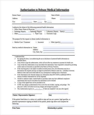 medical release permission form