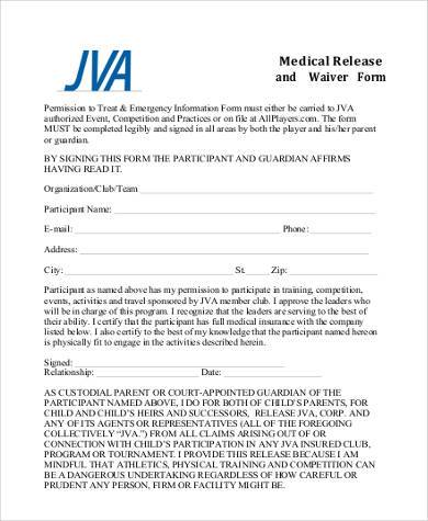 medical release waiver form