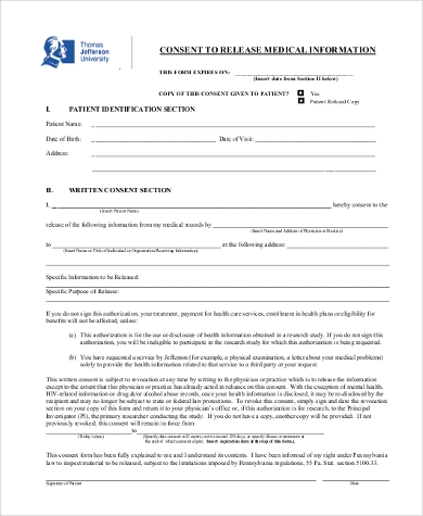medical release of information consent form