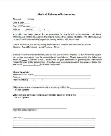 medical release of information form free
