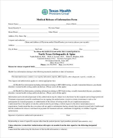 medical release of information form
