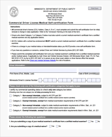 Sample Medical Certification Forms   Free Documents In Pdf