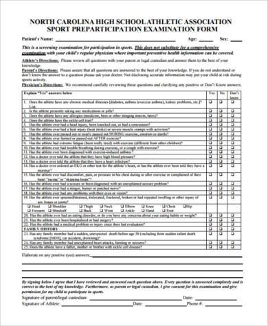 Sample Medical Physical Forms   Free Documents In Pdf