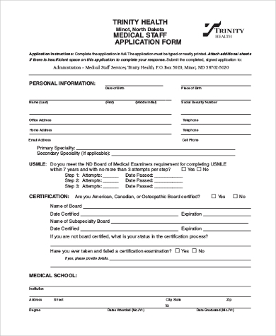 medical staff application form
