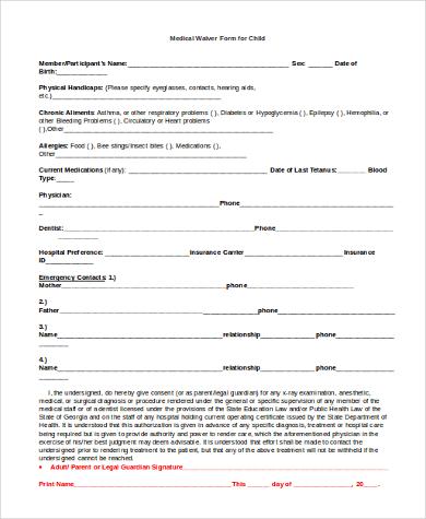 medical waiver form for child
