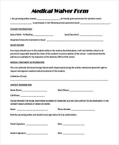 Medical Waiver Sample Forms - 9+ Free Documents In Word, Pdf