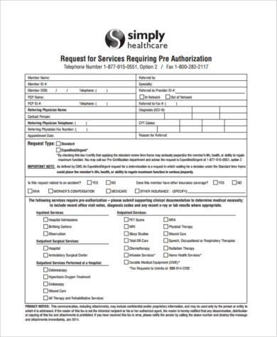 Sample Pre Authorization Forms   Free Documents In Pdf
