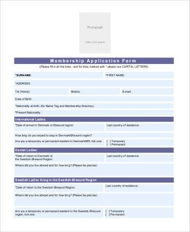 membership application form sample