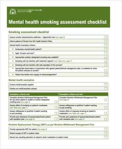 mental health assessment checklist form