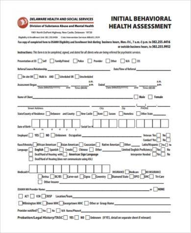 Sample Mental Health Assessment Forms   Free Documents In Pdf