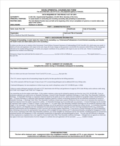 military developmental counseling form