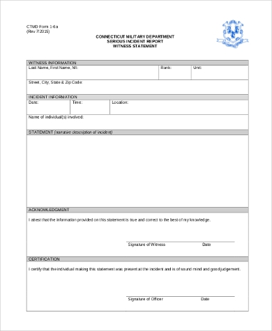 witness statement form samples 9 free documents in word pdf