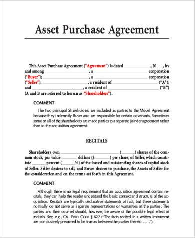 model asset purchase agreement sample