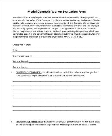 model domestic worker evaluation form