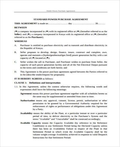 model power purchase agreement form