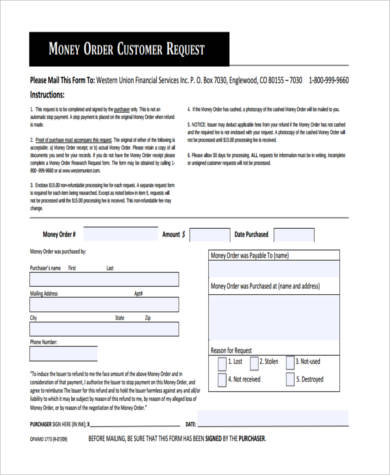 Sample Money Order Forms - 8+ Free Documents in PDF