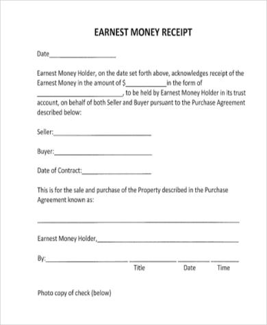 money receipt printable