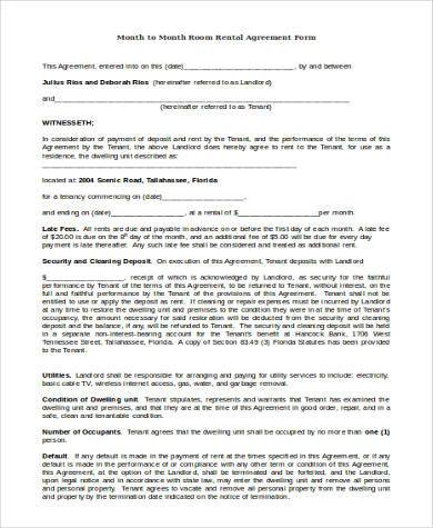 month to month room rental agreement form1