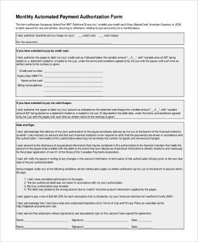 monthly automatic payment authorization form