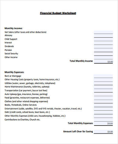 monthly financial budget form