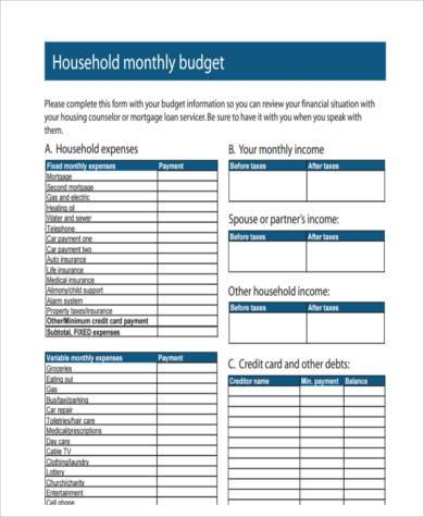 household budget sample