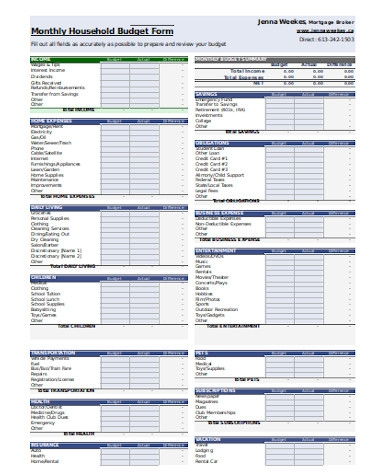 monthly household budget form1