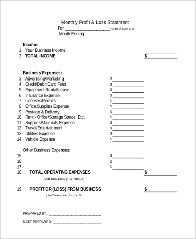 Example Monthly Profit U0026 Loss Statement Form  Profit Loss Form