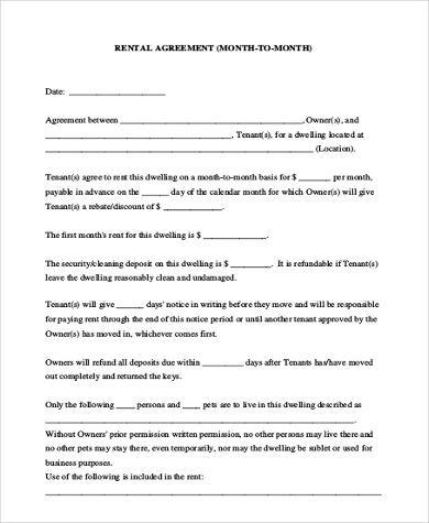 monthly rental agreement form printable