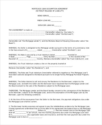 Mortgage Loan Agreement Form Sample
