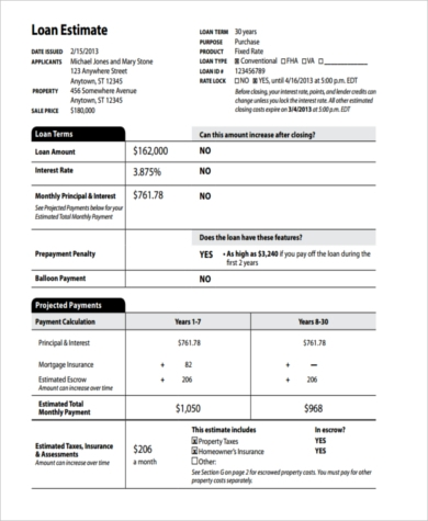 Loan Estimate Form Free Download Job Work Estimate Template Sample