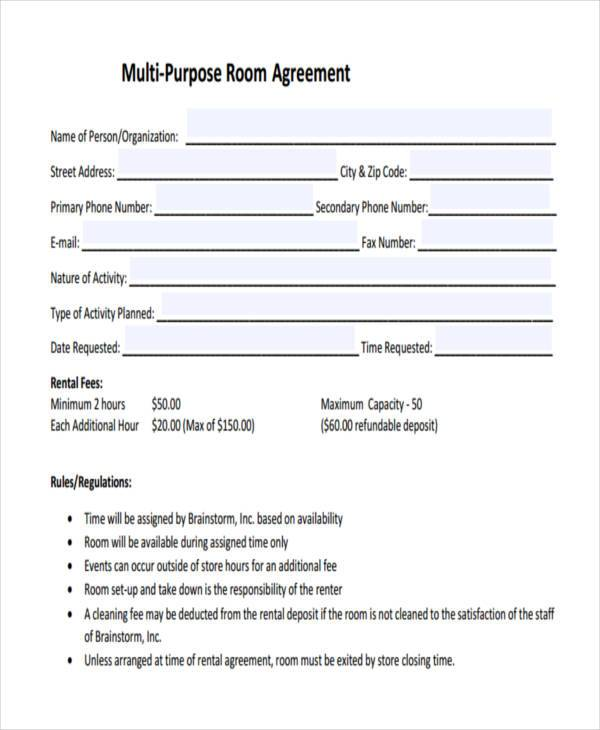 Room Lease Agreement Samples   Free Documents In Word Pdf