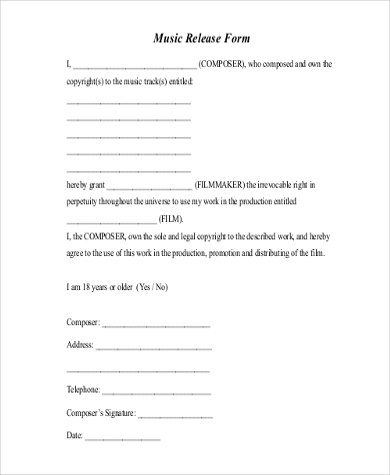 Copyright Release Form Samples   Free Documents In Word Pdf