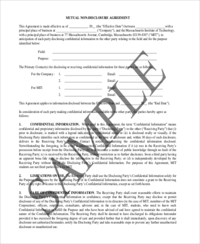 Mutual Non Disclosure Agreement Example  Disclosure Agreement Sample