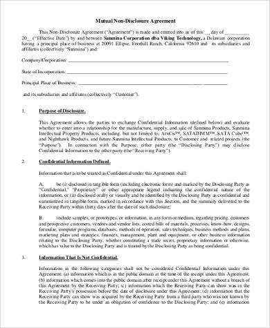 NonDisclosure Agreement Form Samples   Free Documents In Word Pdf