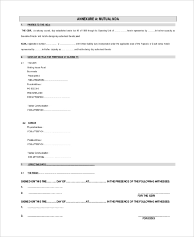 Mutual Non Disclosure Agreement   Free Documents In Word Pdf