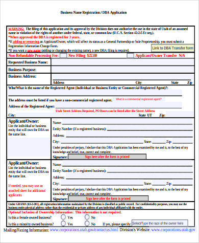 new business registration form