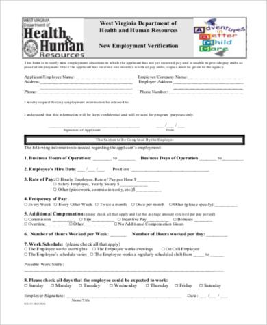 new employment verification form
