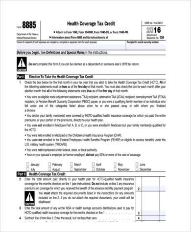 new health care tax form