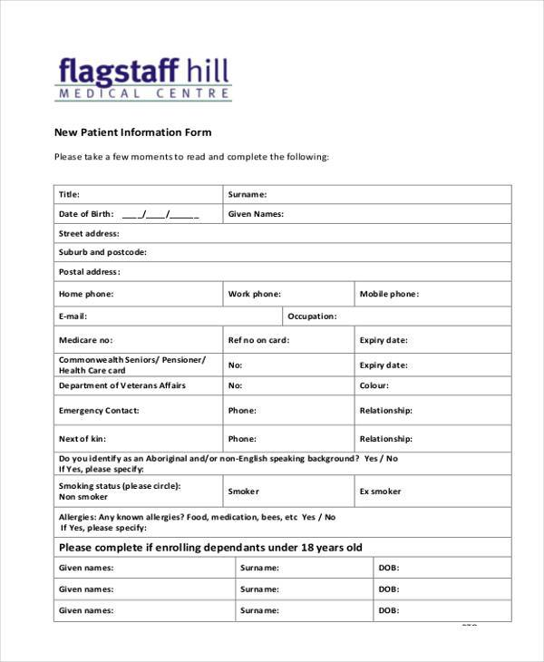 new patient information form