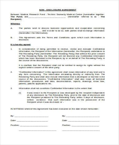 non disclosure agreement format