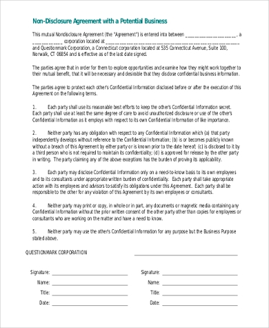 non disclosure business agreement2