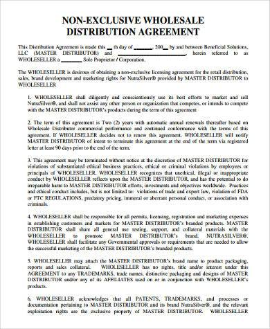 non exclusive distribution agreement form