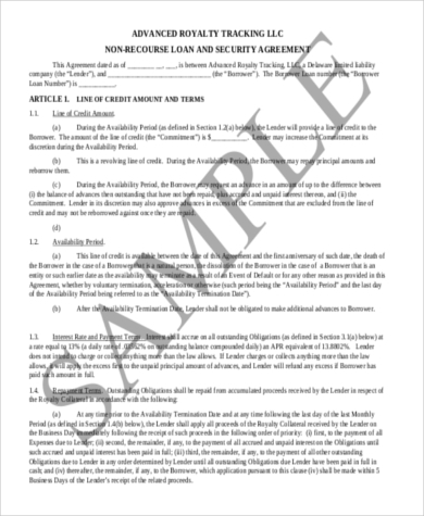 non recourse loan agreement sample