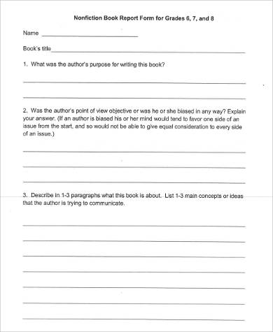 nonfiction book report form