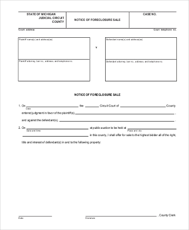 Example Of Notice Of Foreclosure Sale Form