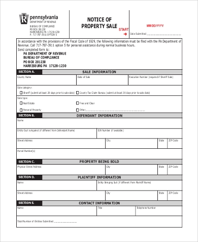 notice of property sale form