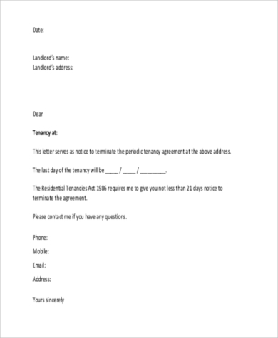 Rental Contract Renewal Office Rental Termination Letter Template