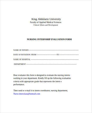 nursing internship evaluation form