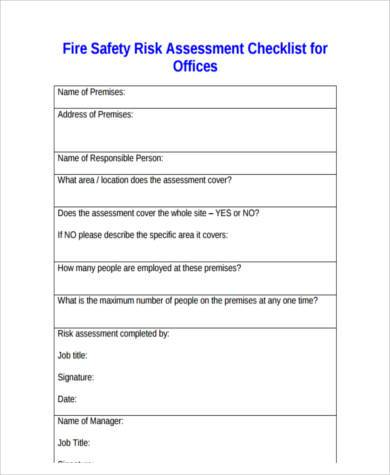 Sample Fire Risk Assessment Forms   Free Documents In Word Pdf